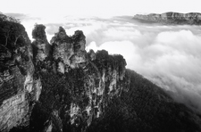 BKW119 Three Sisters in Mist, Blue Mountains National Park NSW